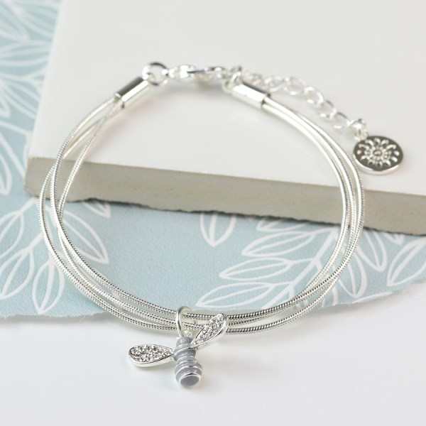 Silver plated triple chain bracelet with crystal bee | Image 1