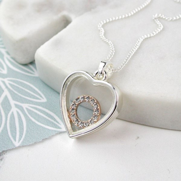Silver plated heart necklace with a crystal circle | Image 1
