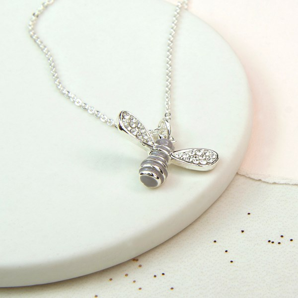 Silver plated enamel bee necklace with crystal wings | Image 1