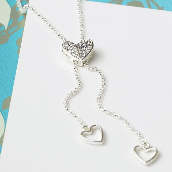 Silver plated lariat style necklace with crystal heart | Image 1