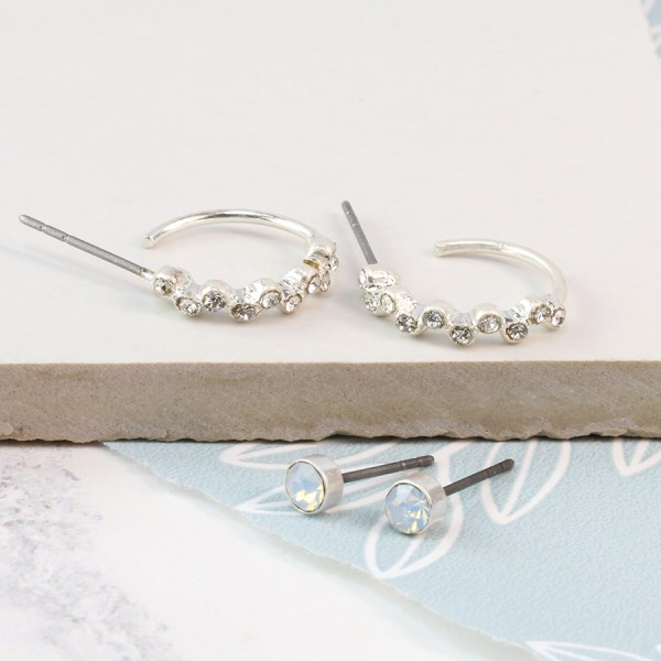 Silver plated crystal stud and crystal hoop earring set | Image 1