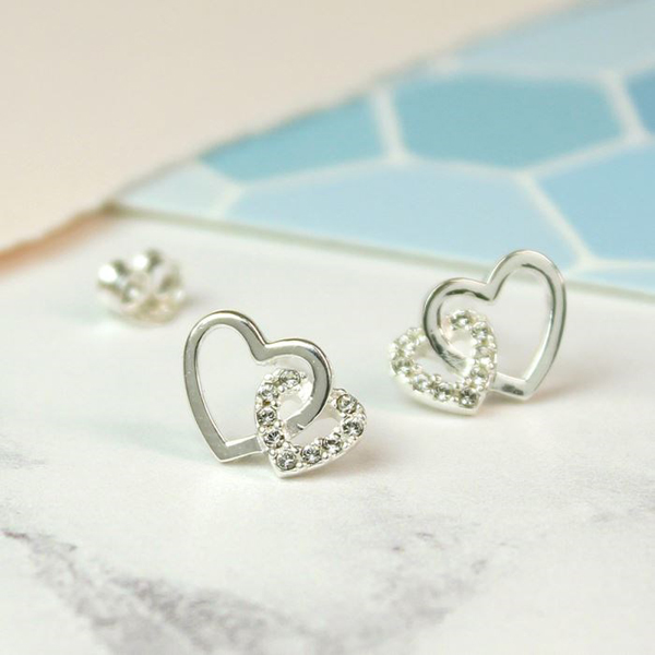 Sterling silver linked heart stud earrings with crystals | Image 1