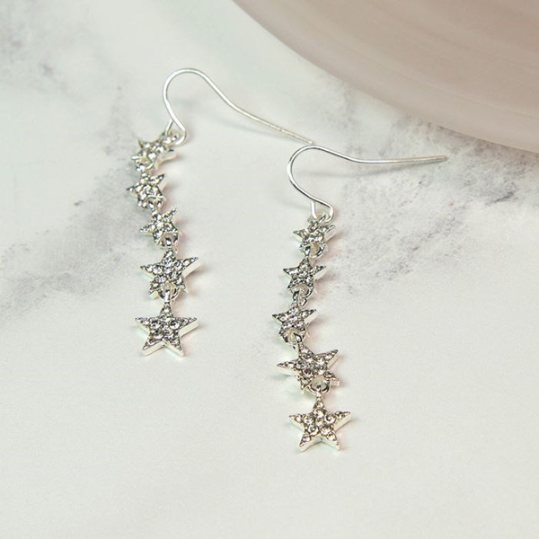 Silver plated multi star drop earrings with crystals | Image 1