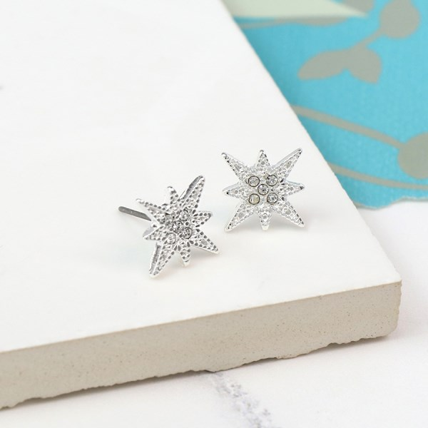 Silver plated starburst stud earrings with crystals | Image 1