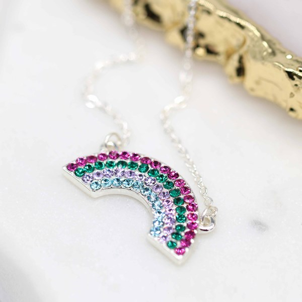 Silver plated pink and green crystal rainbow necklace | Image 1