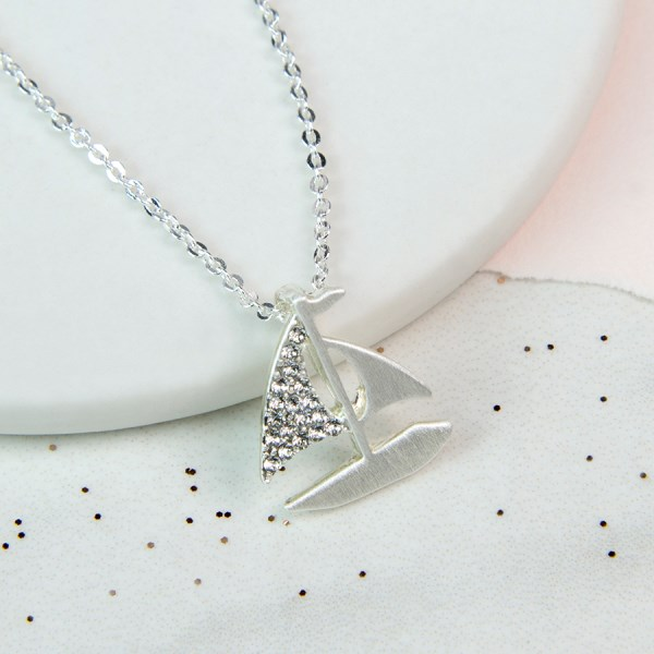 Silver plated sail boat necklace with crystals | Image 1