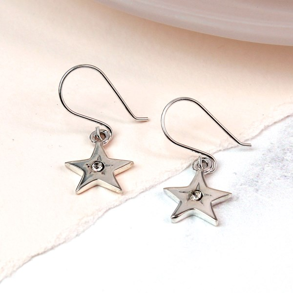 Sterling silver star drop earrings with crystal centre | Image 1
