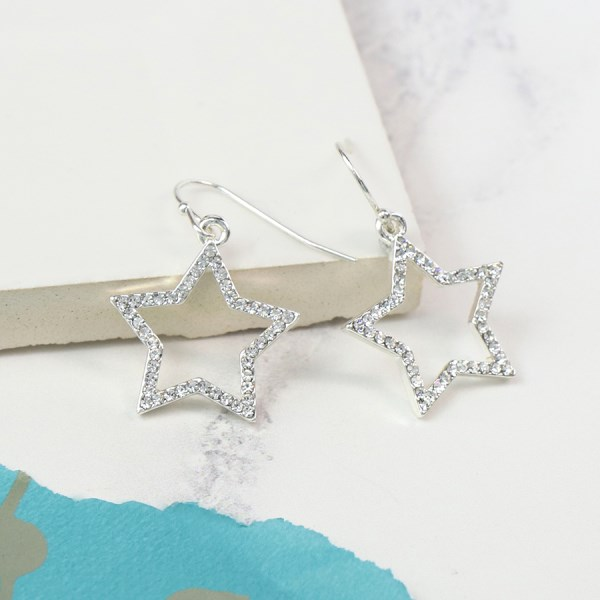 Silver plated open star drop earrings with crystals | Image 1