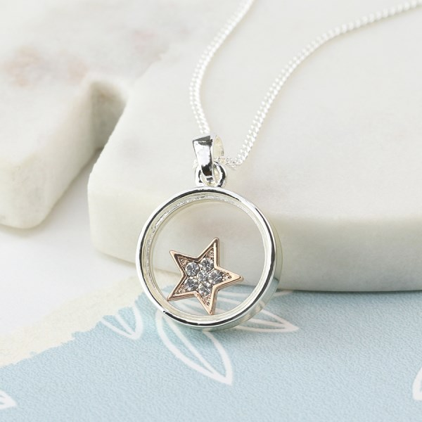 Silver plated circle necklace with crystal star | Image 1