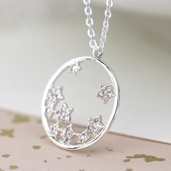 Silver plated circle and crystal stars necklace | Image 1