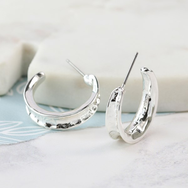 Silver plated concave open hoop earrings | Image 1