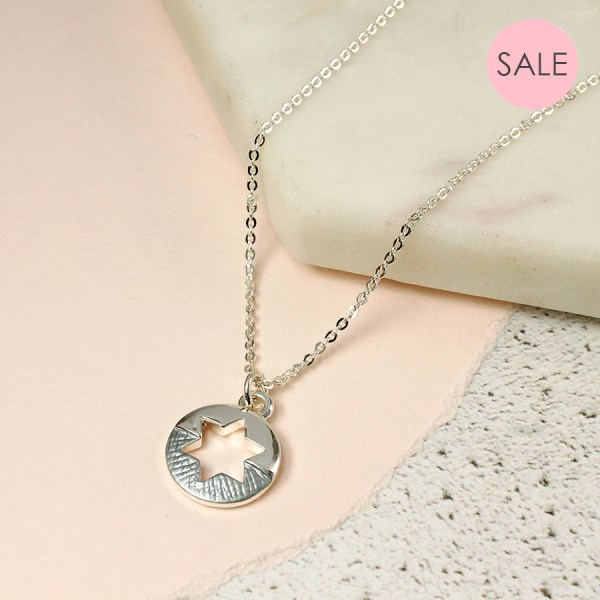 Split star necklace in silver and grey enamel | Image 1