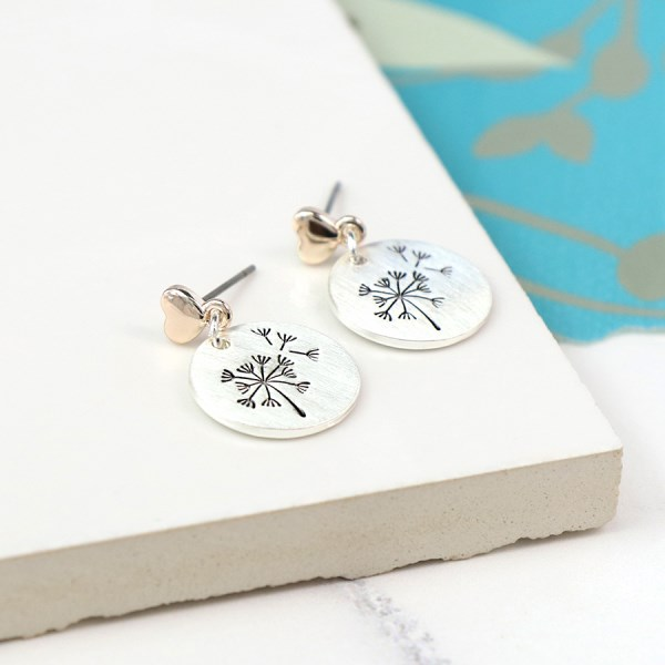 Silver plated dandelion disc and rose gold heart earrings | Image 1