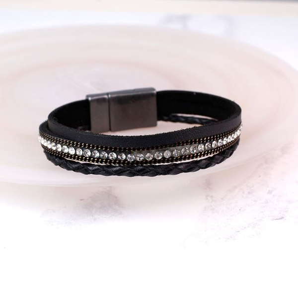 Black leather bracelet with crystals and chain detail | Image 1