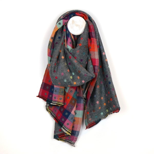 Dark grey multicoloured reversible jacquard dotty scarf | Image 1