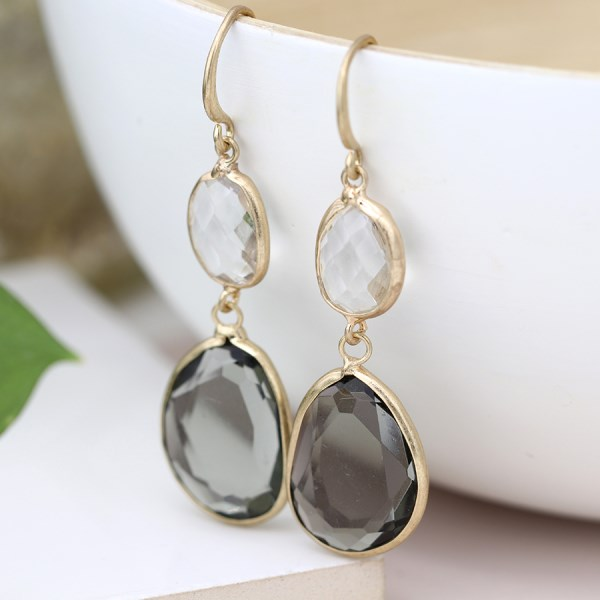 Gold plated smoky and clear crystal drop earrings | Image 1