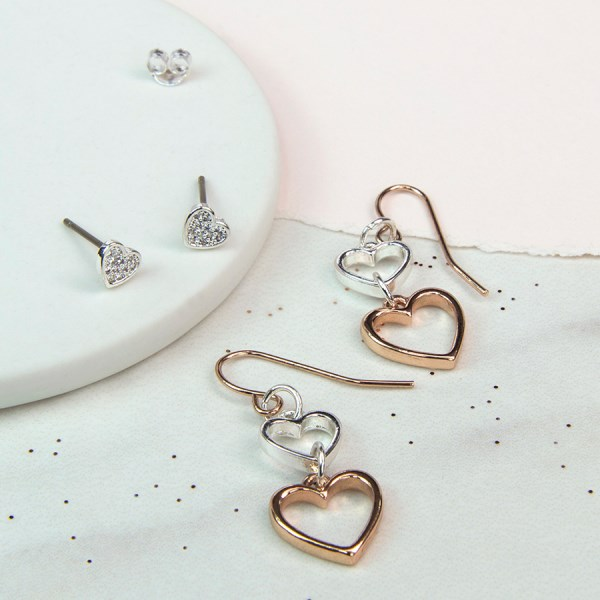 Silver crystal heart and double mixed heart earring set | Image 1