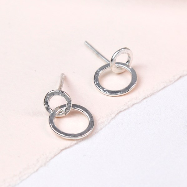 Sterling silver double linked hoop stud earrings | Image 1