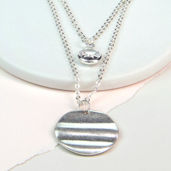 Silver plated wave disc and crystal layered necklace | Image 1