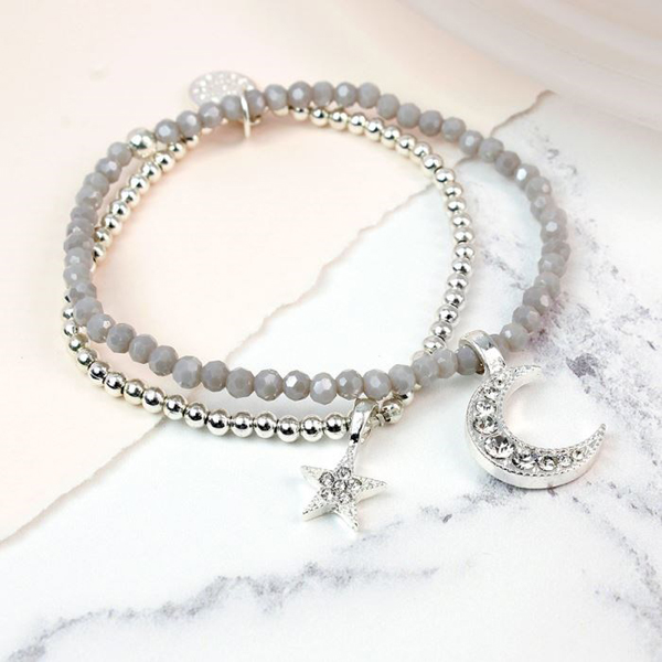 Layered silver plated bracelet with crystal star and moon | Image 1