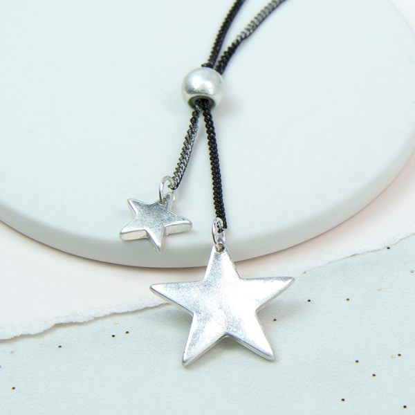 Silver plated double star necklace with oxidised chain | Image 1