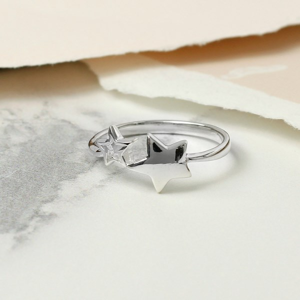 Sterling silver double star ring with an open band | Image 1