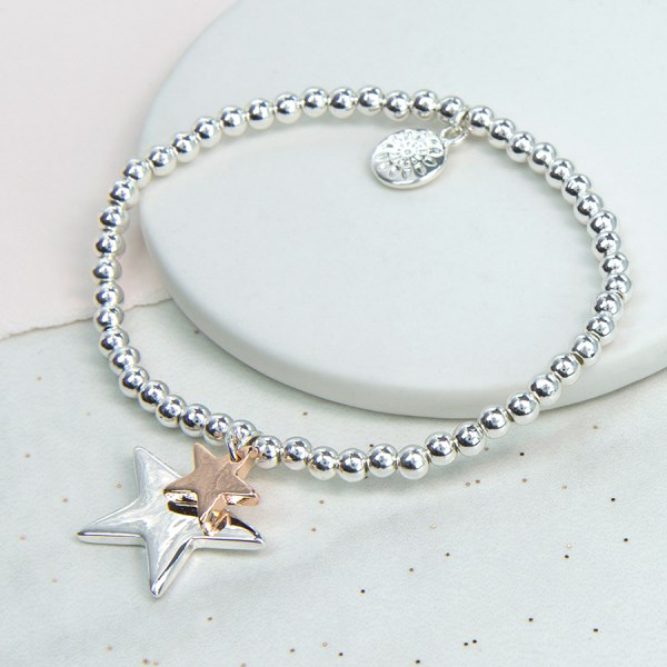 Double star charm bracelet in silver and rose gold  | Image 1