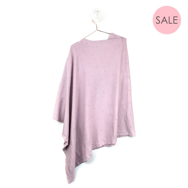 Rose cotton poncho with lurex bobble detail | Image 1