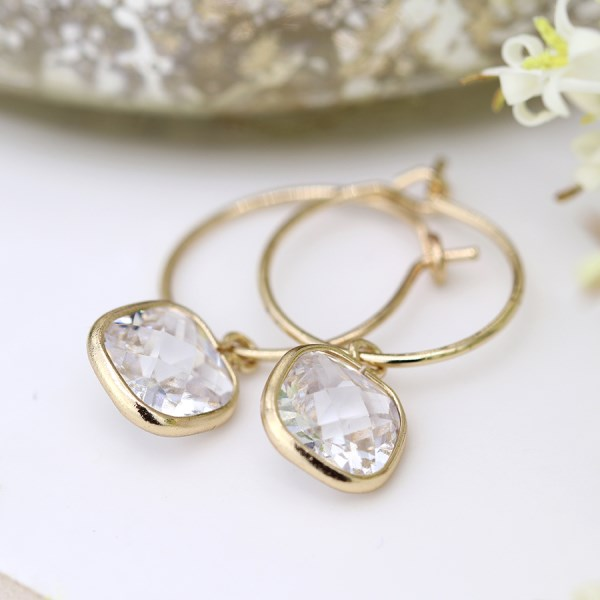 Gold plated fine hoop and square crystal drop earrings | Image 1