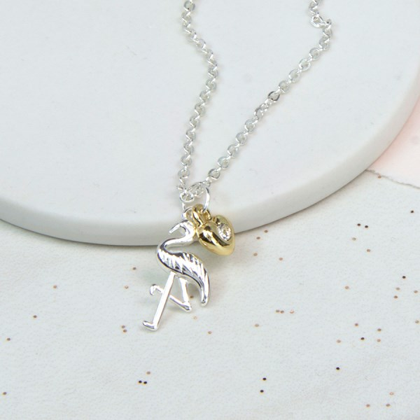 Silver plated necklace with a flamingo and golden heart | Image 1