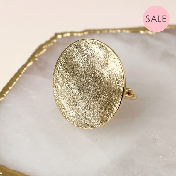 Gold plated scratched disc open band ring | Image 1