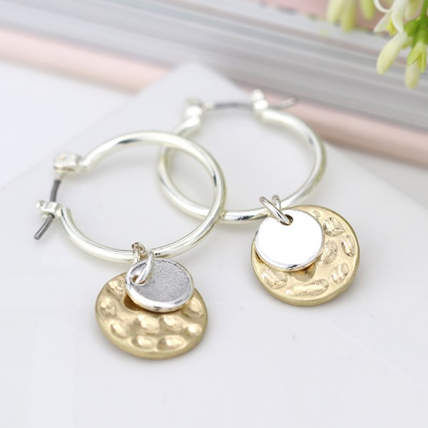 Silver plated hoop, hammered gold and silver disc earrings | Image 1