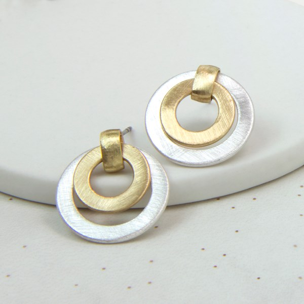 Brushed silver and gold plated double circle stud earrings | Image 1