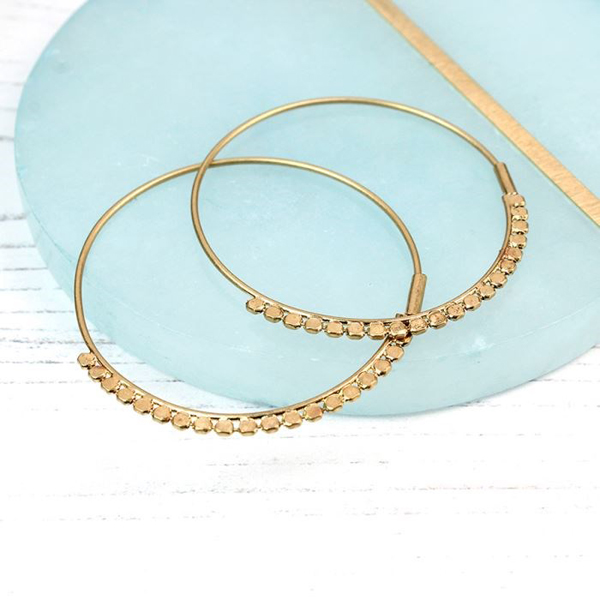 Gold plated hoop earrings with decorative detail | Image 1