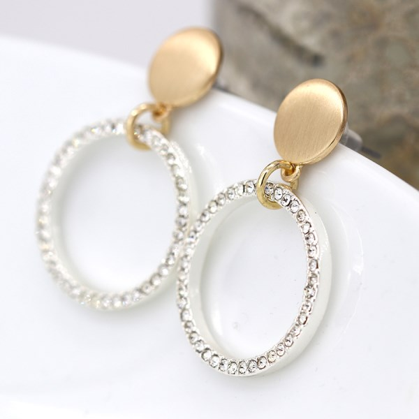 Brushed gold disc and silver plated crystal hoop earrings | Image 1