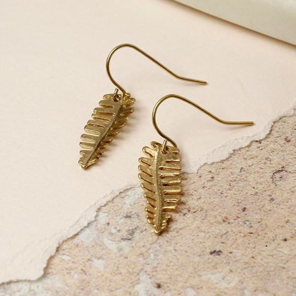 Fern leaf drop earrings in worn golden finish | Image 1