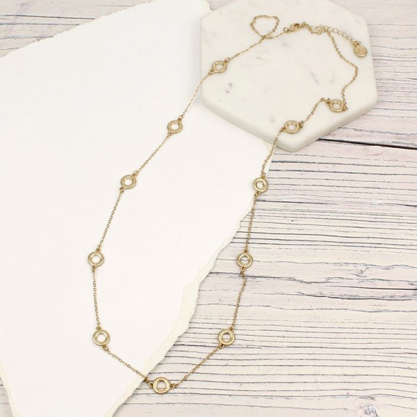 Gold plated hoops and chain long necklace | Image 1