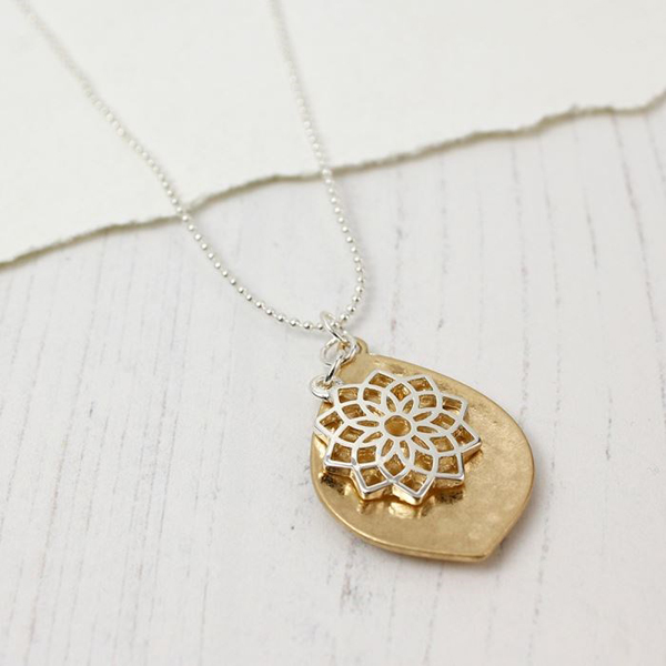 Gold plated leaf and silver plated mandala necklace | Image 1