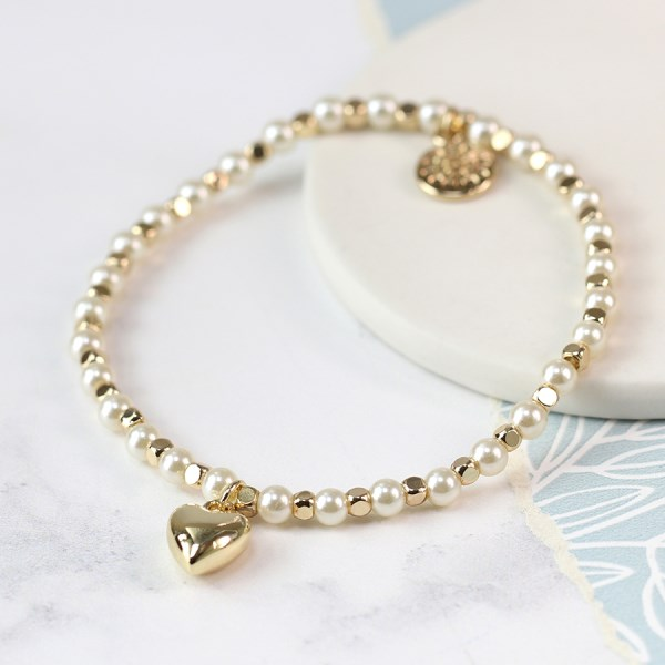 Pearl and golden bead bracelet with gold plated heart | Image 1