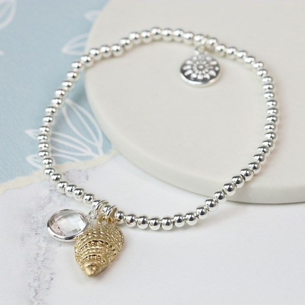 Silver plated bracelet with golden shell and crystal | Image 1