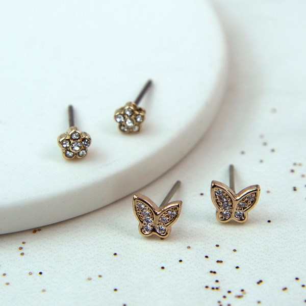Golden crystal butterfly and flower stud earring set | Image 1