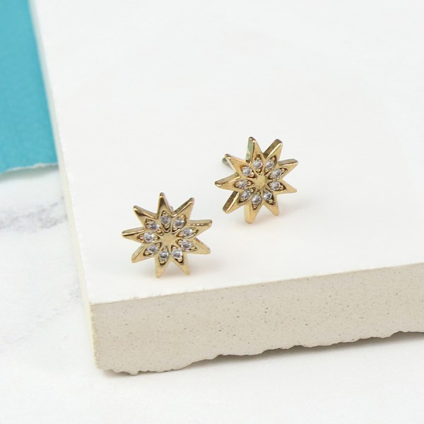 Golden plated starburst and crystal stud earrings | Image 1