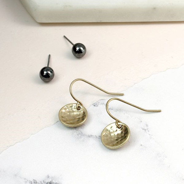 Gold disc drop earring and hematite stud earring set | Image 1