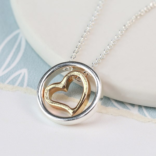 Golden heart and silver plated open circle necklace | Image 1
