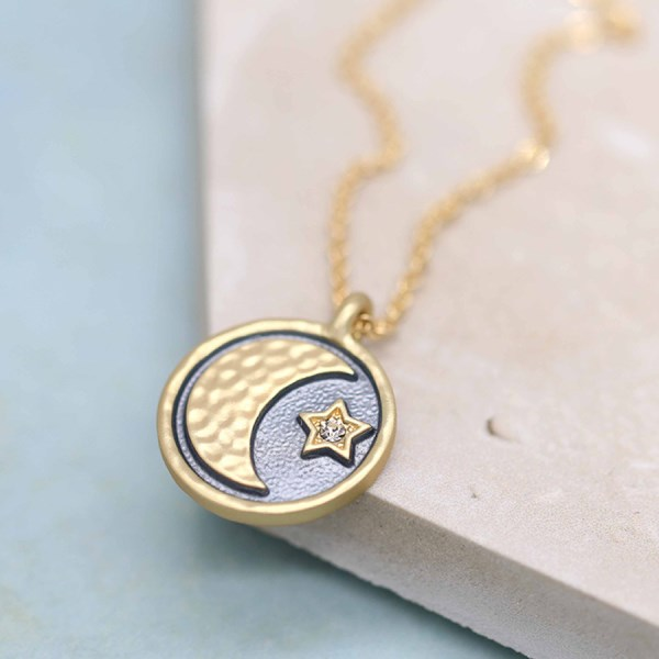 Golden and grey enamel necklace with moon, star and crystal | Image 1