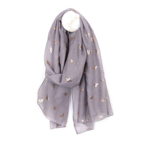 Grey scarf with metallic silver bee print | Image 1