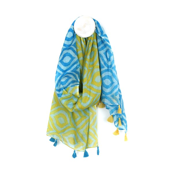 Cotton scarf with green and blue ikat diamond print | Image 1