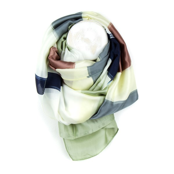 Bronze and navy mix silky scarf with painted stripes | Image 1