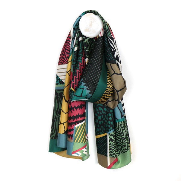 Silky scarf with animal prints and stripes in a green mix  | Image 1