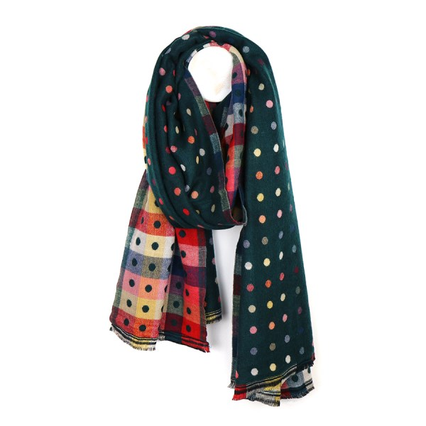 Green multicoloured reversible jacquard dotty scarf | Image 1